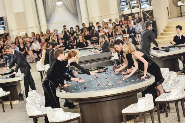 **USA ONLY** Paris, France -Kristen Stewart, Julianne Moore, Baptiste Giabiconi and Lily Rose Depp at the Chanel Fashion Show showcasing the Fall/Winter 2015/2016 line in a Casino Theme during Paris Haute Couture Week. AKM-GSI July 7, 2015 **USA ONLY** To License These Photos, Please Contact : Steve Ginsburg (310) 505-8447 (323) 423-9397 steve@akmgsi.com sales@akmgsi.com or Maria Buda (917) 242-1505 mbuda@akmgsi.com ginsburgspalyinc@gmail.com